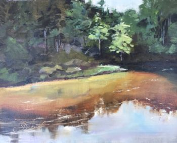 Oil painting of a bend in the creek, showing the transparent tannin-stained water over the sand bar, at Turkey Creek in Niceville, FL