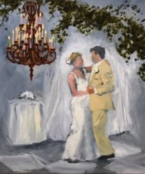 Plein air painting of first dance at wedding, unfinished