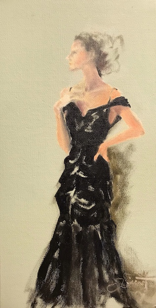 Oil painting of woman in fancy long dress like Sargent's Madame X