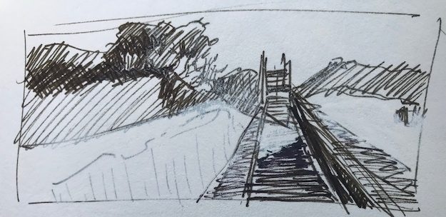 Ink sketch, study for Shifting Sands, St. George Island, FL