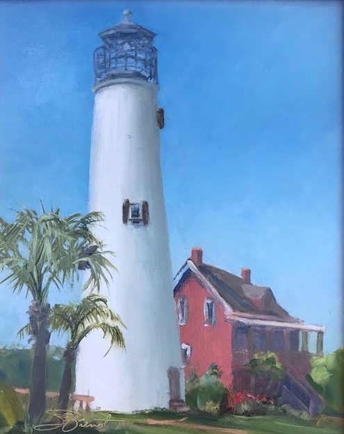 Oil painting of the lighthouse on St. George Island, FL
