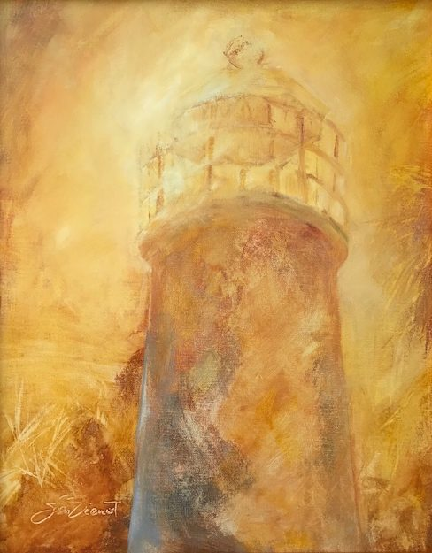Oil painting in shades of yellow, of the lighthouse on St. george Island with blinding sunlight behind it