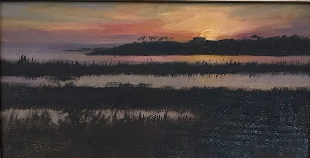 Oil painting of the sunrise at the south end of the bridge to St. George Island, Florida
