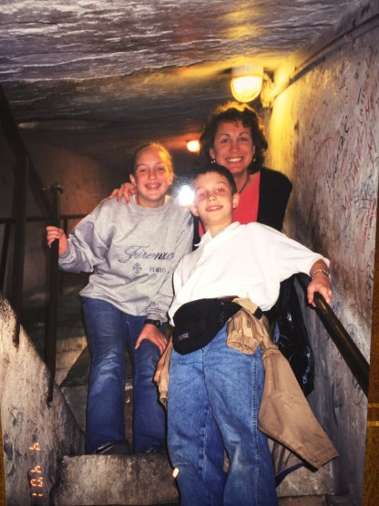In the narrow stairway inside the Duomo, 2001. Leah, age 12 and Walker, age 9, fourteen years ago.