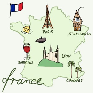 France landmarks vector map - Paris, Lyon, Cannes, Strasbourg, cheese, wine and beret.