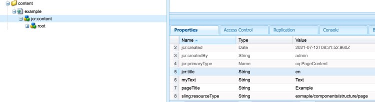 Page properties node