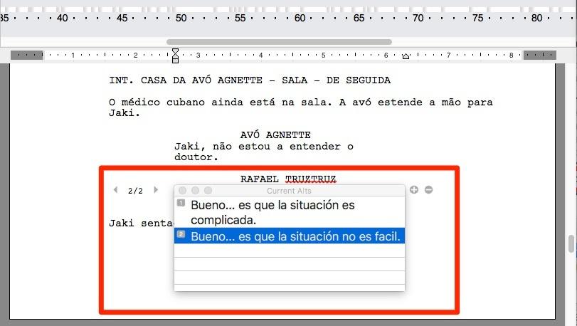 A função de Diálogos Alternativos do Final Draft 10