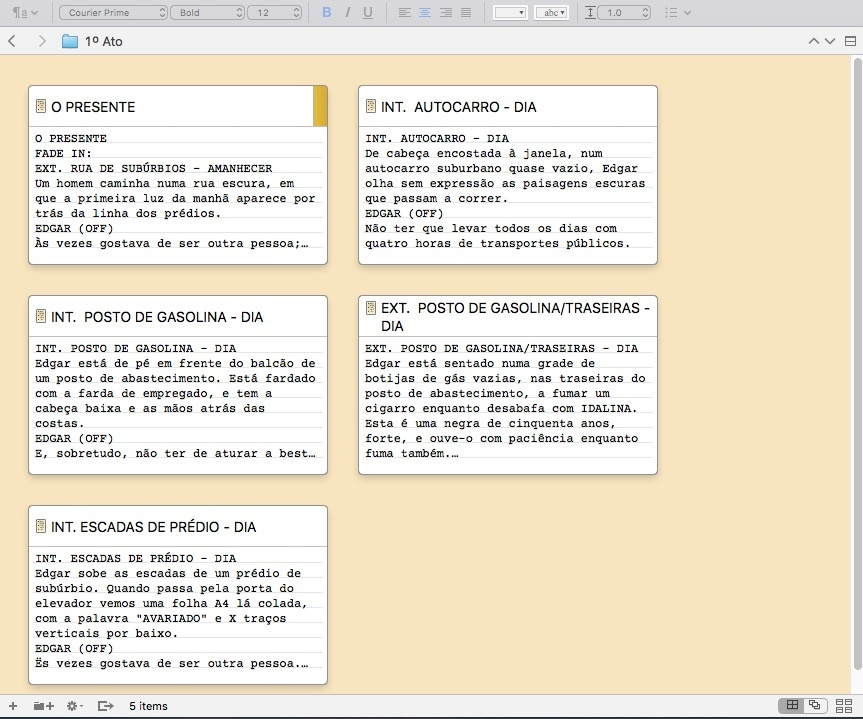 O quadro virtual do Scrivener