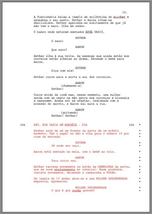 shooting script - cena com numeração trancada