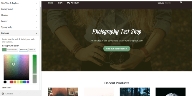 Using the WP Customiser in WooThemes' Storefront