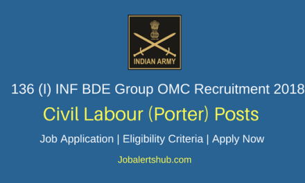 136 (Independent) Infantry Brigade Group Porter Company Recruitment 2018 Porters, Safaiwala & Other Posts – 600 Vacancies | Certifications | Apply Now