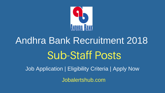 Andhra Bank 2018 Jaipur Zone Sub Staff Posts – 12 Vacancies   10th Class  Apply Now