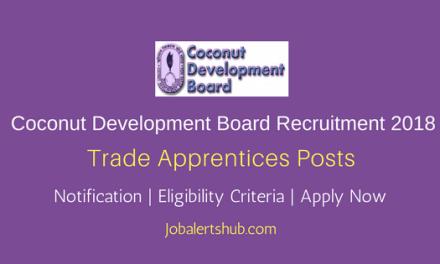 Coconut Development Board 2018 Trade Apprentices Jobs – 02 Vacancies   NCVT Certification   Apply Now