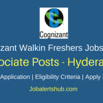 Cognizant Walkin Associate Freshers 2018 Vacancies | Graduation | Hyderabad | Walk-In: 19th April'18