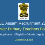 DEE Assam 2018 Lower Primary Teachers Posts – 5393 Vacancies | 10+2, D.El.Ed/ B.El.Ed | Apply Now