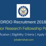 DRDO-DIBER 2018 Junior Research Fellowship Posts – 12 Vacancies | B.Tech, M.Tech, PG Degree | Apply Now