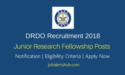 DRDO-DIBER 2018 Junior Research Fellowship Posts – 12 Vacancies   B.Tech, M.Tech, PG Degree   Apply Now