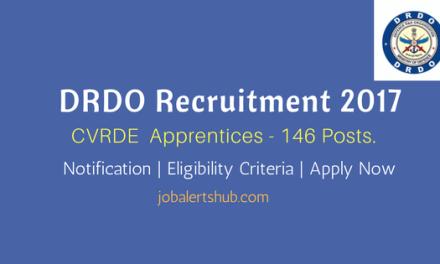 DRDO Recruitment 2017   Apprentices – 146 Vacancies   ITI   Apply Now
