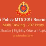 Delhi Police MTS 2017 Recruitment | MTS – 707 Vacancies | 10th/ITI | Apply Now