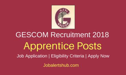 GESCOM 2018 Apprentice Posts – 470 Vacancies | 10th, ITI | Apply Now