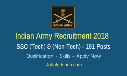 Indian Army Recruitment 2018   SSC Men & Women (Tech) – 191 Posts   B.Tech/Any Graduation   Apply Now @ www.joinindianarmy.nic.in