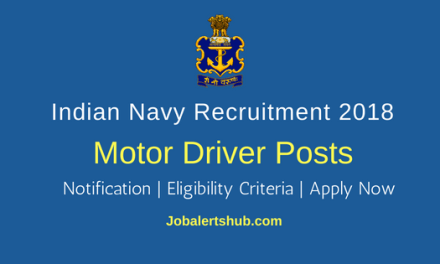 Indian Navy 2018 Civilian Motor Driver Posts – 24 Vacancies | 10th class | Apply Now