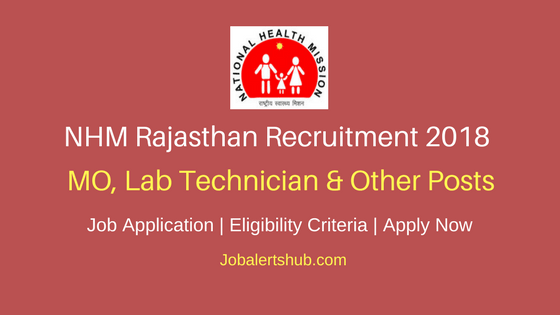 NHM Rajasthan 2018 MO, Lab Technician & Other Posts – 1043 Vacancies | Diploma, Graduation, PG | Apply Now
