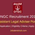 ONGC 2018 Assistant Legal Adviser Assistant Posts – 15 Vacancies | LLM Degree + CLAT-2018| Apply Now
