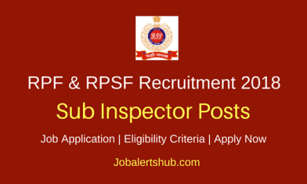 RPF & RPSF 2018 Sub Inspector Jobs – 1120 Posts   Graduate   Apply Now