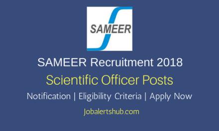 SAMEER 2018 Scientific Officer Jobs – 04 Vacancies   Graduation   Apply Now