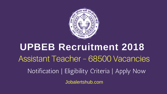UPBEB Recruitment 2018 | Assistant Teacher – 68500 Posts | Degree/PG | Apply Now @ upbasiceduboard.gov.in