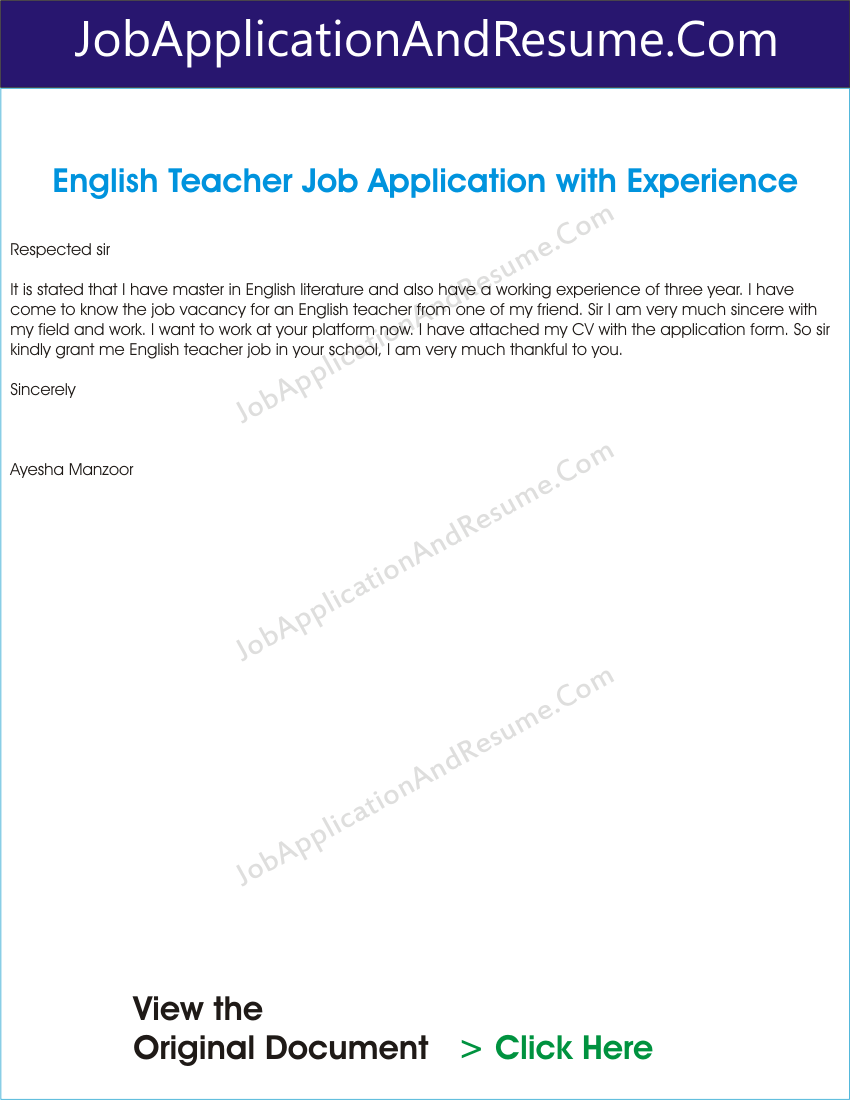 job application letter for english teacher inexperienced