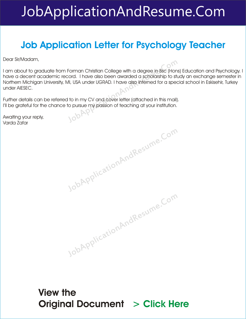 Job Application Letter For Psychology Graduate Jaar Head