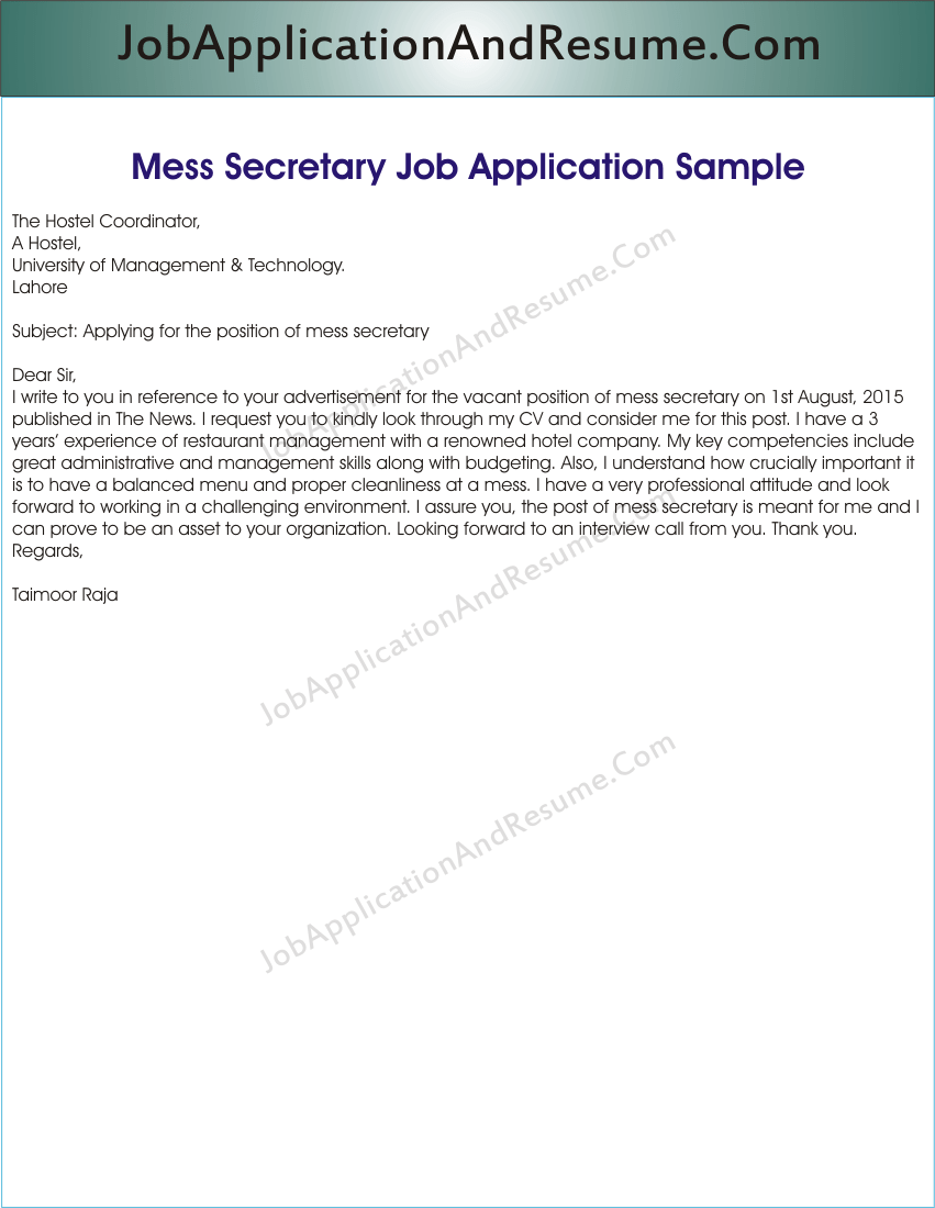 Job Application For Mess Secretary Jaar Head Hunters