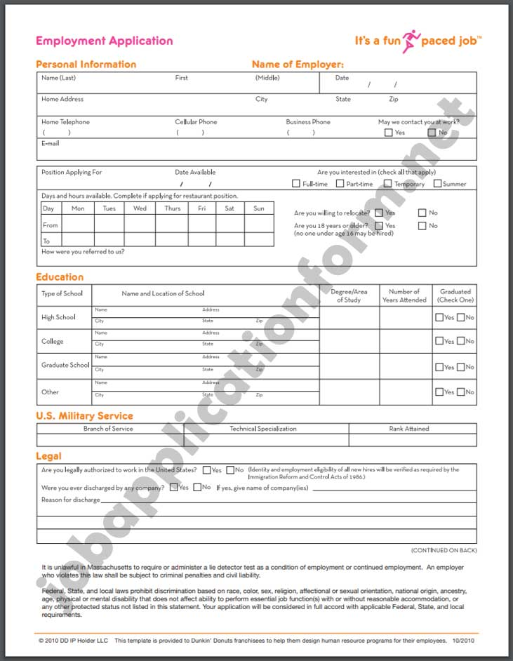 Dunkin Donuts Application Print Out : dunkin, donuts, application, print, Dunkin', Application, Online, Careers,, Apply,, Positions, Salaries