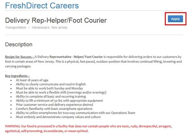 Fresh Direct Job Application