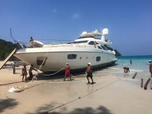 How do you beach a 98' yacht