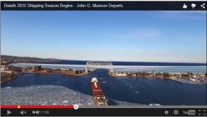 MV John G. Munson became the first ship of the 2015 commercial shipping season to depart Duluth Harbor, Minnesota