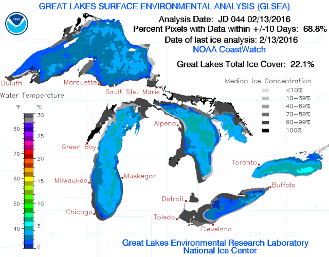 Great Lakes Ice coverage report for 2-16-16