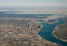 Detroit City looking up the river to Lake St Clair