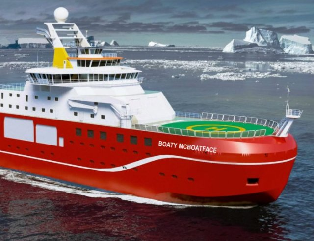 Boaty McBoatface is leading in a poll to name an upcoming arctic British research vessel. (Credit: https://nameourship.nerc.ac.uk)