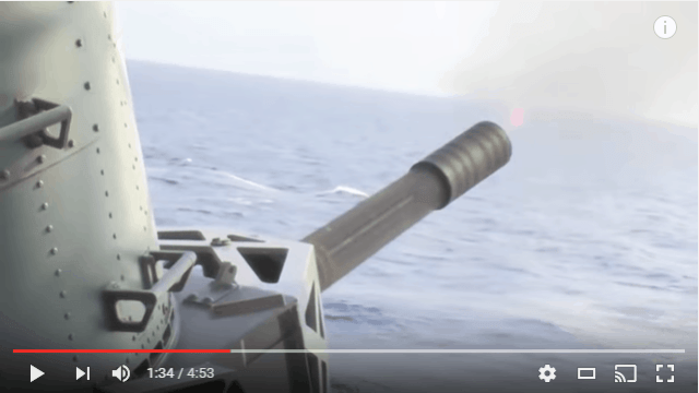 CIWS Close In Weapon System Gatling Gun In Action