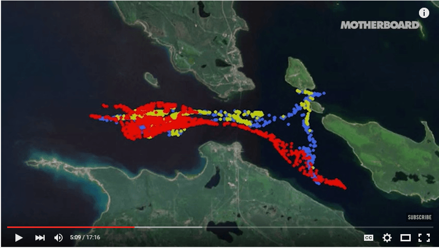 The path an oil spill would take if it happen in the Straits of Mackinaw