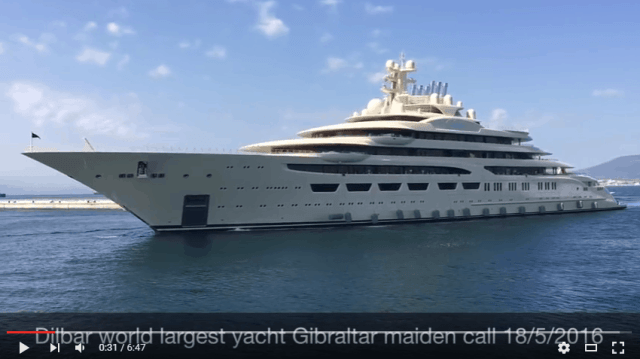 Worlds largest yacht Dilbar inaugural call at Gibraltar