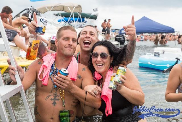 Raft Off 2016 in Little Muscamoot Bay, Lake St Clair