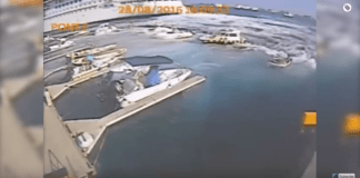 A Carnival cruise ship's wake destroys a small marina in Italy as it was leaving port. Surveillance video shows the cruise ship swamp boats and completely overturn piers at the marina. Authorities are currently investigating the situation. Thankfully, no one was hurt.