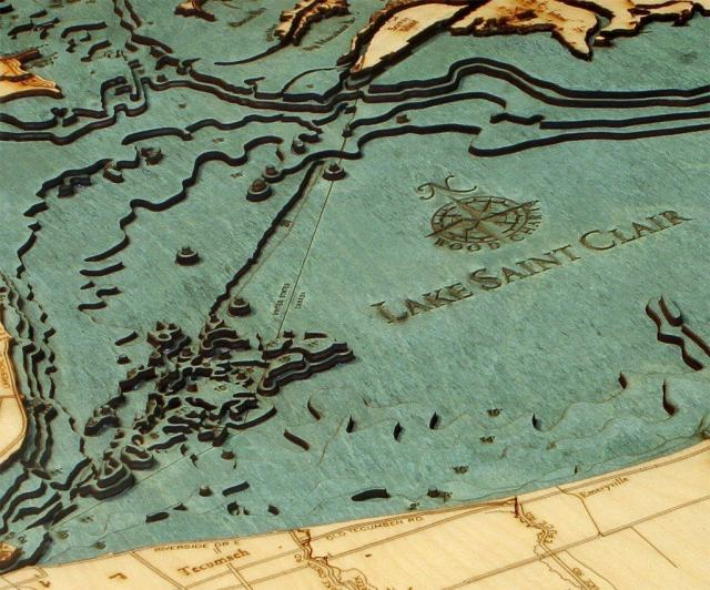 """Lake St. Clair, Michigan 3-D Nautical Wood Chart, 24.5"""" x 31"""" Get your own at http://amzn.to/2gkj7kL"""