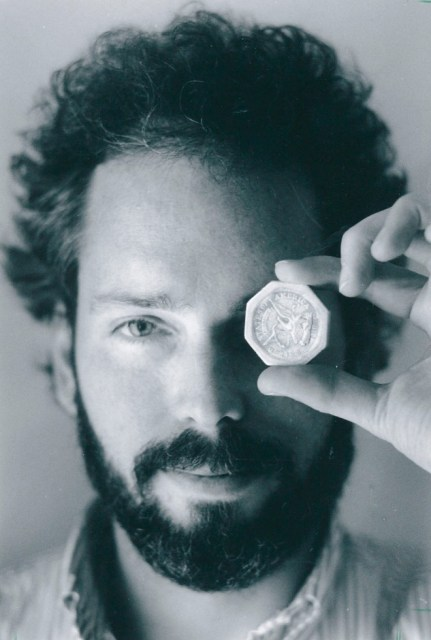 Nov 1989 -- Black and white file photo -- Thomas Thompson with a 50 dollar pioneer gold piece retrieved earlier in 1989 from the wreck of the gold ship Central America .  Treasure  .  *** Ran 11/24/1989 *** (Columbus Dispatch photo by Lon Horwedel) *** Thompson is an engineer and shipwreck enthusiast,  AKA Tommy Thompson or Thomas G. Thompson.   The SS Central America steamer sank in 1857 off the Carolina coast with tons of gold aboard.