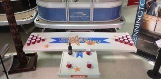 Sandbar Pontoon table and beer pong attachment