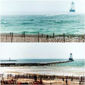 These photos of the Ludington North Breakwater were taken just 10 minutes apart by Ludington photographer Todd Reed on Friday, April 13.(Courtesy Photo | Todd and Brad Reed Photography)